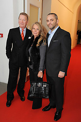 Left to right, FRANK WARREN, LADY GREEN and KARL FOWLER CEO of Kraken Opus at a reception to launch the Saatchi Opus held at the Saatchi Gallery, King's Road, London on 26th November 2009.