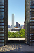 View of the United Nations, through 860 and 870 United Nations Plaza, from 2 Beekman Place, 13th floor
