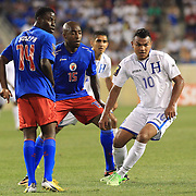 Mario Roberto Martinez , Honduras, in action during the Haiti V Honduras CONCACAF Gold Cup group B football match at Red Bull Arena, Harrison, New Jersey. USA. 8th July 2013. Photo Tim Clayton