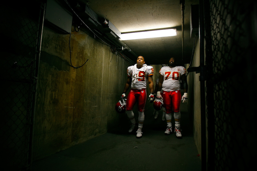 Kansas City Chiefs linebacker Kendrell Bell, left, and defensive tackle Alfonso Boone, right, walked down the visitors players tunnel before the San Diego Chargers on September 30, 2007 at Qualcomm Stadium in San Diego, CA.