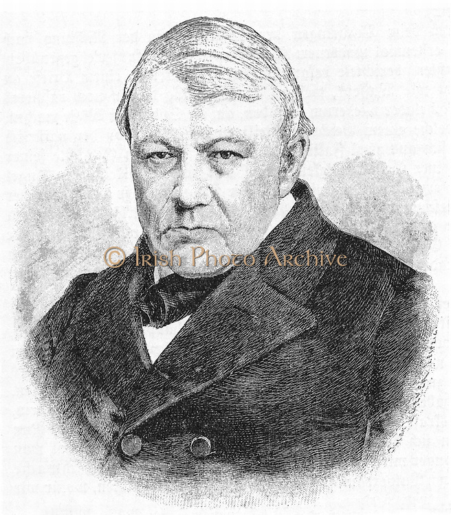 Christian Friedrich Schonbein (1799-1869) German chemist.  Began his investigation of ozone in 1839. Worked on nitrocellulose and produced guncotton for use in firearms in 1846. Engraving, (Leipzig, c1898).