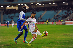 December 16, 2018 - Rades, Tunisia - Yassine Chammakhi (R)of CA and Abdel Latif ismaiel during the match 1 / 16th finals of the African Champions League between Club Africain(CA) de Tunis and El Hilal of Sudan at the Olympic Stadium Rades .CA-El HILAL 3/1. (Credit Image: © Chokri Mahjoub/ZUMA Wire)
