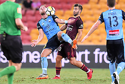 January 8, 2018 - Brisbane, QUEENSLAND, AUSTRALIA - Jordy Buijs of Sydney (5, left) and Petros Skapetis of the Roar (33) compete for the ball during the round fifteen Hyundai A-League match between the Brisbane Roar and Sydney FC at Suncorp Stadium on Monday, January 8, 2018 in Brisbane, Australia. (Credit Image: © Albert Perez via ZUMA Wire)