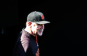 Bruce Bochy is watching pre game training from the dugout prior to the MLB game between the San Francisco Giants and the Colorado Rockies, at AT&amp;T Park in San Francisco, CA.<br /> The Rockies won 8-6 in 9 innings.<br /> Credit : Glenn Gervot