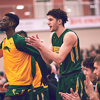 2nd year guard, Nigel Warden (9) of the Regina Cougars during the Men's Basketball Home Game on Sat Feb 02 at Centre for Kinesiology,Health and Sport. Credit: Arthur Ward/Arthur Images