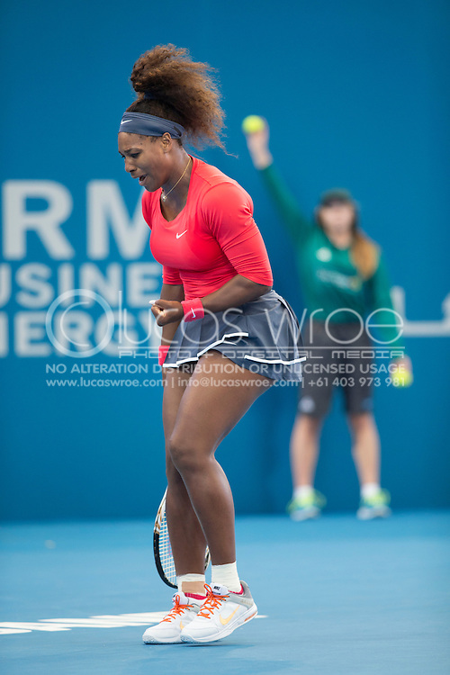 Serena Williams (USA). Brisbane International Tennis Championship. Queensland Tennis Center, Tennyson, Brisbane, Queensland, Australia. 30/12/2012. Photo By Lucas Wroe
