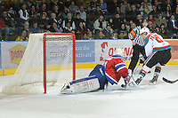 KELOWNA, CANADA, FEBRUARY 15: Zach Franko #9 of the Kelowna Rockets takes a shot on the net of Laurent Brossoit #31 of the Edmonton OIl Kings at the Kelowna Rockets on February 15, 2012 at Prospera Place in Kelowna, British Columbia, Canada (Photo by Marissa Baecker/Shoot the Breeze) *** Local Caption ***
