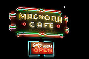 An old store neon on South Congress Avenue in Austin, Texas
