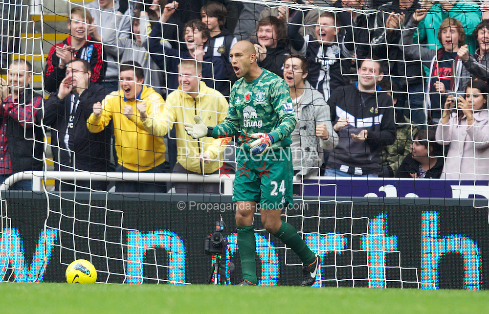 NEWCASTLE-UPON-TYNE, ENGLAND - Saturday, November 5, 2011: Everton's goalkeeper Tim Howard looks dejected after Newcastle United's second goal during the Premiership match at St. James' Park. (Pic by Vegard Grott/Propaganda)