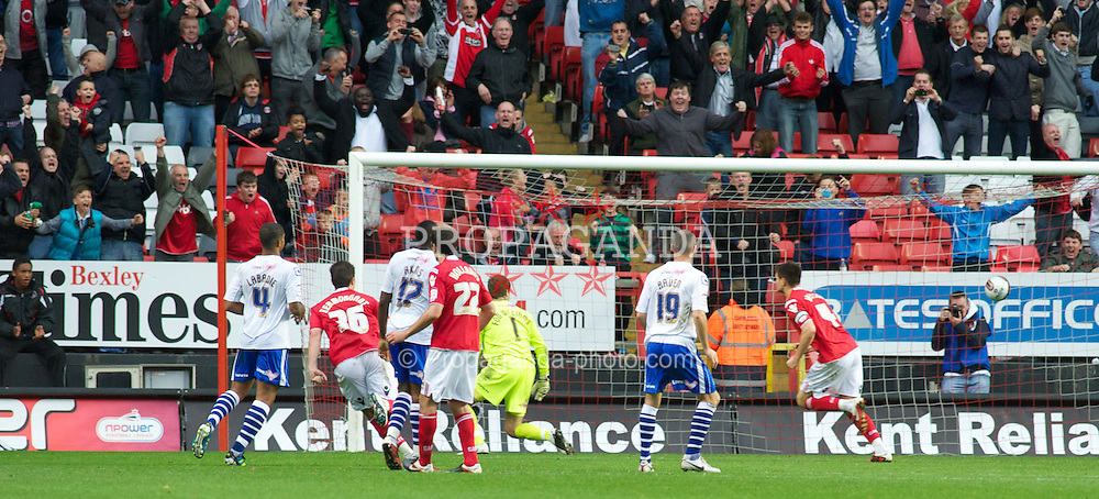 LONDON, ENGLAND - Saturday, October 8, 2011: Tranmere Rovers' players look dejected after Charlton Athletic's Johnnie Jackson scores from to penalty to make it 1-1 during the Football League One match at The Valley. (Pic by Gareth Davies/Propaganda)