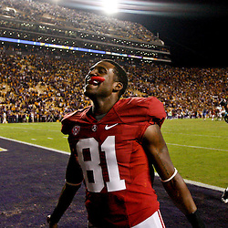 November 3, 2012; Baton Rouge, LA, USA;  Alabama Crimson Tide wide receiver Danny Woodson (81) celebrates following a win over the LSU Tigers in a game at Tiger Stadium. Alabama defeated LSU 21-17. Mandatory Credit: Derick E. Hingle-US PRESSWIRE
