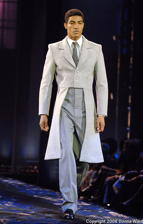 A model displays a creation from Sean John during his Mercedes-Benz Fashion Week Fall 2008 collection show held at Cipriani 42nd Street in New York City, USA on February 8th, 2008.