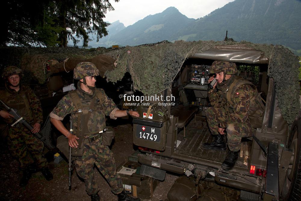 Exercice de l'armée Suisse, Wiederholungskurs der Schweizer Armee, FLAB, Fliegerabwehr, à Grandvillard, 2010.