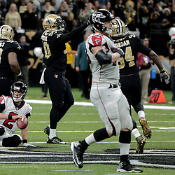 Dec 24, 2017; New Orleans, LA, USA; Atlanta Falcons quarterback Matt Ryan (2) is sacked by New Orleans Saints defensive end George Johnson (90) during the second half at the Mercedes-Benz Superdome. The Saints defeated the Falcons 23-13. Mandatory Credit: Derick E. Hingle-USA TODAY Sports