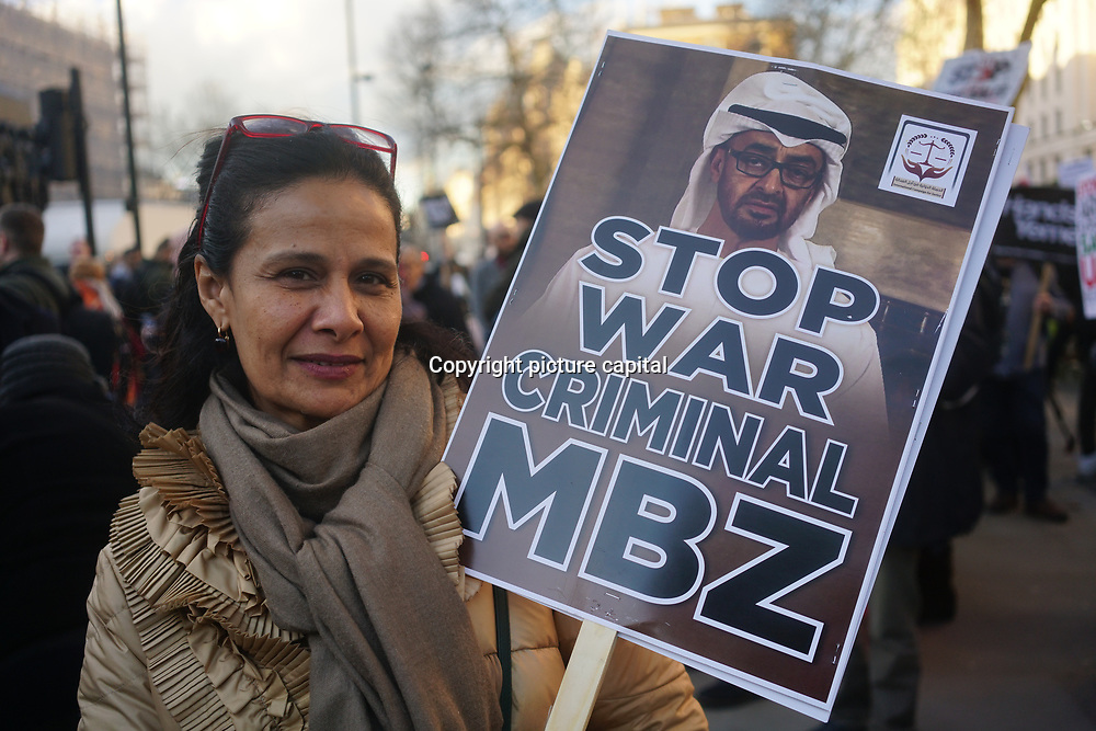 London, UK. 7th March 2018. Stop the War protest against Theresa May arms sells to the Crown Saudi Prince Mohammad bin Salman one of the worst human rights records in the world visits Downing Street against the Yemenis people, in fact, the West arms sells have fueled the middle east with bloodsheds and the civilian pay a very high price