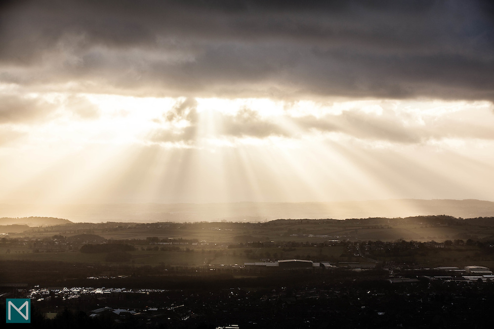 Late sun over Manchester as viewed from Rivington Pike, Lancashire