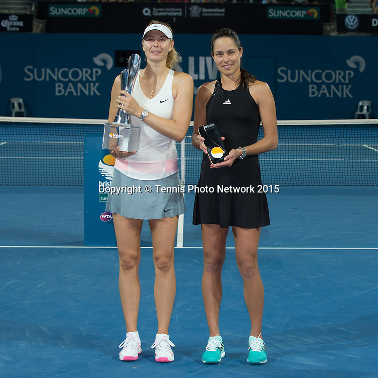 Siegerehrung mit Maria Sharapova, Ana Ivanovic<br /> <br />  - Brisbane International 2015 - ATP 250 - WTA -  Queensland Tennis Centre - Brisbane - Queensland - Australia  - 10 January 2015. <br /> &copy; Tennis Photo Network