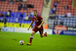 WIGAN, ENGLAND - Friday, July 14, 2017: Liverpool's James Milner in action against Wigan Athletic during a preseason friendly match at the DW Stadium. (Pic by David Rawcliffe/Propaganda)