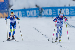 09.12.2017, Biathlonarena, Hochfilzen, AUT, IBU Weltcup Biathlon, Hochfilzen, Damen, Verfolgung, im Bild v.l. Darya Domracheva (BLR), Kaisa Makarainen (FIN) // Darya f.l. Domracheva of Belarus and Kaisa Makarainen of Finland during wommen's Pursuit of BMW IBU Biathlon World Cup at the Biathlonarena in Hochfilzen, Austria on 2017/12/09. EXPA Pictures © 2017, PhotoCredit: EXPA/ Stefan Adelsberger