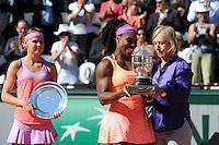 Serena WILLIAMS / Lucie SAFAROVA / Martina NAVRATILOVA  - 06.06.2015 - Jour 14 - Finale Femmes - Roland Garros 2015<br /> Photo : Nolwenn Le Gouic / Icon Sport