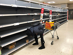 © Licensed to London News Pictures. 19/03/2020. Leeds UK. A woman searches the shelves for bread in Sainsbury's in Colton, Leeds, as people continue to panic buy due to COVID 19.  Photo credit: Andrew McCaren/LNP