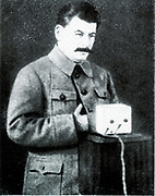 Joseph Stalin (1879-1953) speaking on 26 January 1924 to the All-Union Congress of Soviets in Moscow, just five days after lenin's death, pledging to carry out Lenin's plan.
