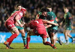 Leicester Tigers tighthead prop, Logovii Mulipola charges at Scarlets openside flanker, John Barclay - Photo mandatory by-line: Dougie Allward/JMP - Mobile: 07966 386802 - 16/01/2015 - SPORT - Rugby - Leicester - Welford Road - Leicester Tigers v Scarlets - European Rugby Champions Cup