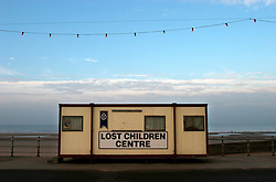 UK ENGLAND LANCASHIRE BLACKPOOL 1DEC04 - Signage for a lost children centre, consisting of an old container on Blackpool Promenade.<br />