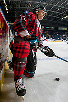 KELOWNA, CANADA - MARCH 10: Carsen Twarynski #18 of the Kelowna Rockets kneels on the ice during warm up against the Kamloops Blazers  on March 10, 2018 at Prospera Place in Kelowna, British Columbia, Canada.  (Photo by Marissa Baecker/Shoot the Breeze)  *** Local Caption ***