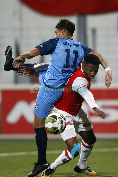(L-R), Justin Mathieu of SC Cambuur, Jonathan Okita of MVV Maastricht during the Jupiler League match between MVV Maastricht and SC Cambuur at the Geusselt on September 22, 2017 in Maastricht, The Netherlands.