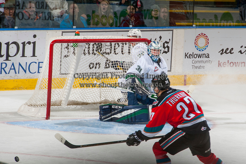 KELOWNA, CANADA - DECEMBER 7: Rylan Toth #31 of the Seattle Thunderbirds defends the net against the Kelowna Rockets on December 7, 2016 at Prospera Place in Kelowna, British Columbia, Canada.  (Photo by Marissa Baecker/Shoot the Breeze)  *** Local Caption ***