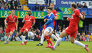 Conor Chaplin trying to break through the York defence during the Sky Bet League 2 match between Portsmouth and York City at Fratton Park, Portsmouth, England on 2 May 2015. Photo by Michael Hulf.