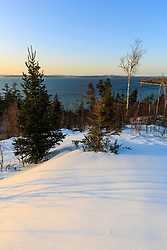 The mouth of the Penobscot River as seen from the Witherle Woods Preserve in Castine, Maine in winter.