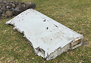 THE REUNION ISLAND, Aug. 6, 2015  <br /> <br /> Debris of missing Malaysian Airlines flight MH370<br /> <br /> Photo taken on Jul. 29, 2015, shows a piece of debris on Reunion Island. Verification had confirmed that the debris discovered on Reunion Island belongs to missing Malaysian Airlines flight MH370, Malaysian Prime Minister Najib Razak announced early Thursday. ©Exclusivepix Media