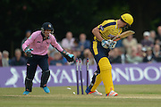 Hampshire all-rounder Ryan McLaren is bowled by Middlesex bowler Ravi Patel during the NatWest T20 Blast South Group match between Middlesex County Cricket Club and Hampshire County Cricket Club at Uxbridge Cricket Ground, Uxbridge, United Kingdom on 27 May 2016. Photo by David Vokes.