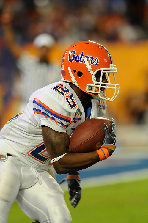 January 8, 2009: Brandon James of the Florida Gators in action during the NCAA football game between the Florida Gators and the Oklahoma Sooners in the 2009 BCS National Championship Game. The Gators defeated the Sooners 24-14.