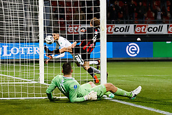 (L-R) goalkeeper Theo Zwarthoed of Excelsior, Bjorn Johnsen of ADO Den Haag, Wout Faes of Excelsior during the Dutch Eredivisie match between sbv Excelsior Rotterdam and ADO Den Haag at Van Donge & De Roo stadium on March 16, 2018 in Rotterdam, The Netherlands