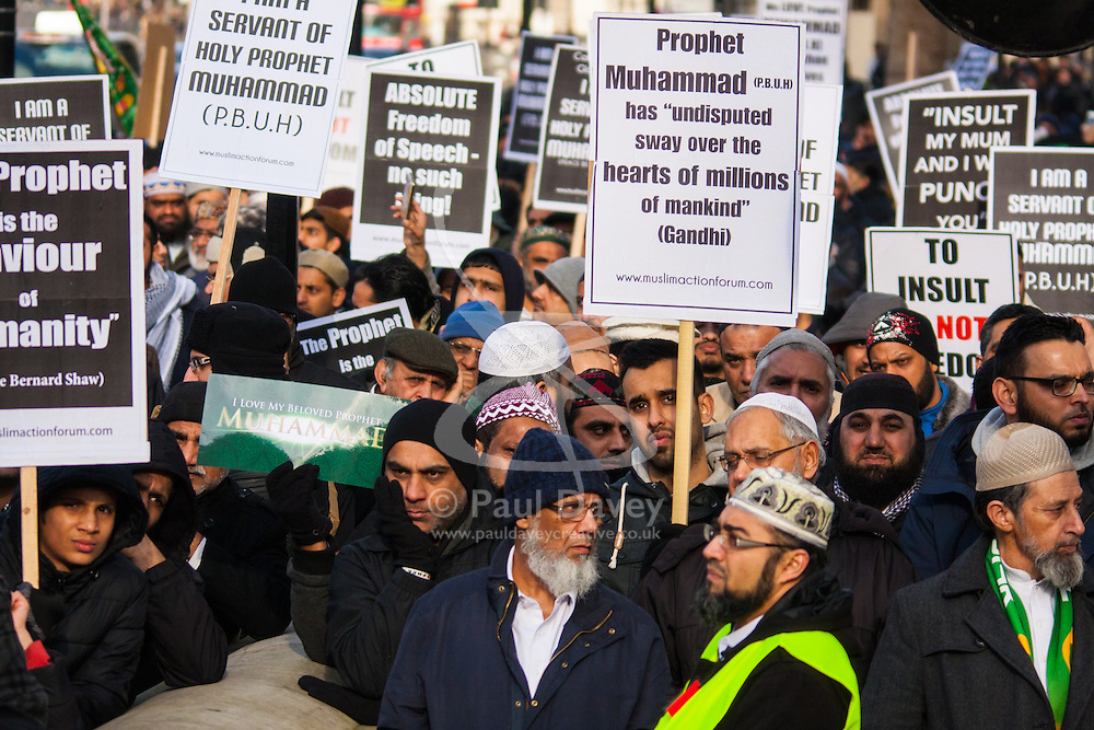 """London, February 8th 2015. Muslims demonstrate outside Downing Street  """"to denounce the uncivilised expressionists reprinting of the cartoon image of the Holy Prophet Muhammad""""."""