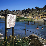 The Benton Hot Springs in Mammoth Lakes, California provide soaking relief in the scenic Sierra Mountains.