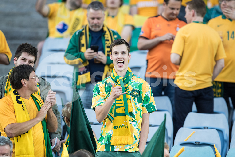 Australian Fans during the 2018 FIFA World Cup CONCACAF/AFC Intercontinental Play-Off match between Australia and Honduras at Stadium Australia, Sydney, Australia on 15 November 2017. Photo by Peter Dovgan.