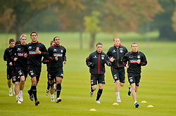 CARDIFF, WALES - Monday, October 13, 2008: Wales' captain Craig Bellamy leads his players during training at the Vale of Glamorgan Hotel ahead of the 2010 FIFA World Cup South Africa Qualifying Group 4 match against Germany. L-R: David Edwards, Lewin Nyatanga, Ashley Williams, Jason Koumas, James Collins. (Photo by David Rawcliffe/Propaganda)