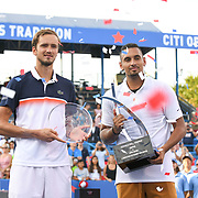 2019 Citi Open runner-up DANIIL MEDVEDEV and champion NICK KYRGIOS pose with their trophies at the Rock Creek Tennis Center.