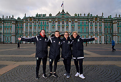 SAINT PETERSBURG, RUSSIA - Monday, October 23, 2017: Wales' Helen Ward, Hayley Ladd, Rachel Rowe and Jessica Fishlock pose for a portrait in Palace Square outside the Winter Palace ahead of the FIFA Women's World Cup 2019 Qualifying Group 1 match between Russia and Wales. (Pic by David Rawcliffe/Propaganda)