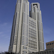 "Tokyo Metropolitan Government Office Building number 1, also known as Tokyo City Hall, or ""tocho"", is 48 stories and 243 meters (799 feet) tall.  It houses offices of the City of Tokyo and its 23 wards.  It was completed in 1991 and cost about 157 billion yen (over USD 1 billion)."