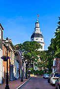 View of the State capitol building from Francis Street, Annapolis, Maryland, USA