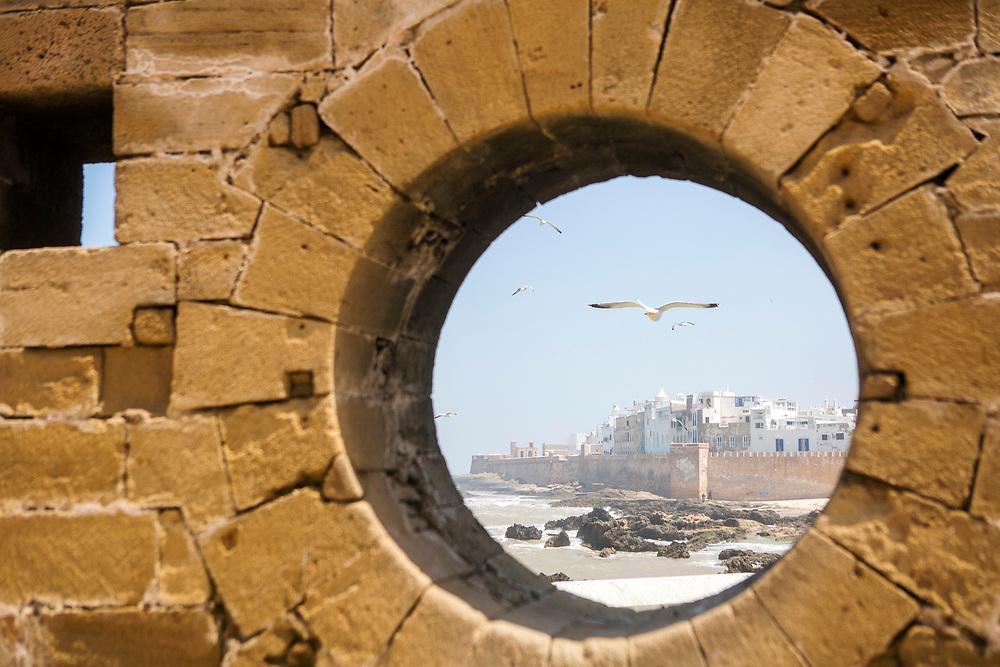 ESSAOUIRA, MOROCCO May 12th 2018 - Skala de la kasbah rampart architecture, Southern Morocco