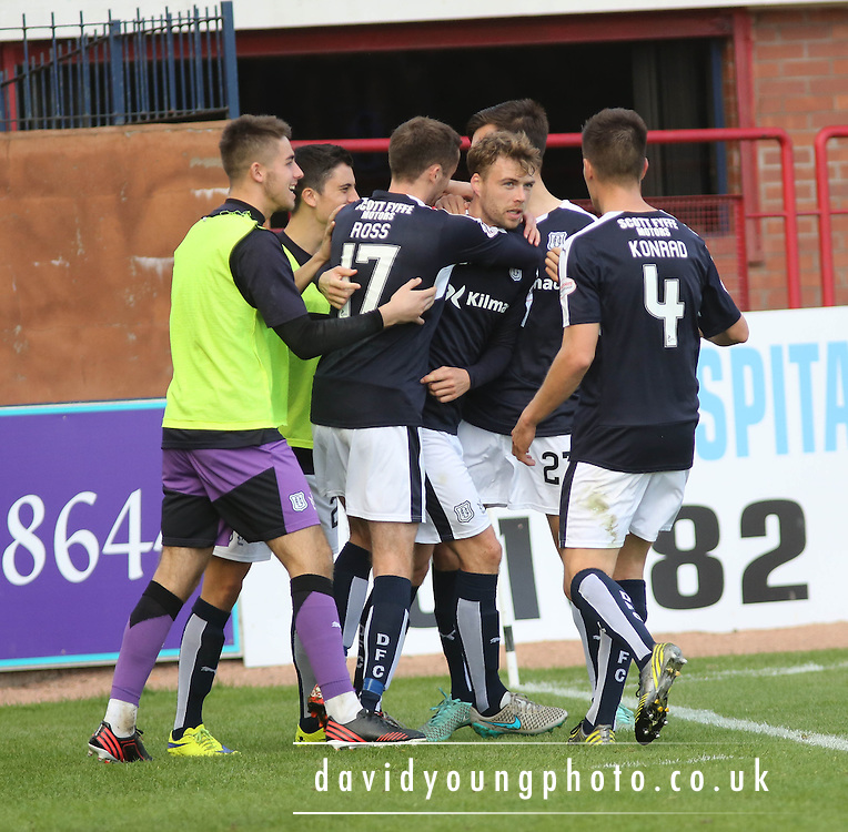 Dundee&rsquo;s Rory Loy is congratulated after he opened the scoring - Dundee v Motherwell - Ladbrokes Premiership at Dens Park<br /> <br /> <br />  - &copy; David Young - www.davidyoungphoto.co.uk - email: davidyoungphoto@gmail.com