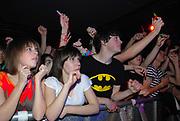 Crowd waving arms, Klaxons gig, february 2007