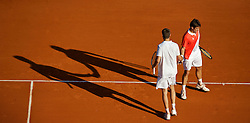 MONTE-CARLO, MONACO - Wednesday, April 14, 2010: Marcel Granollers (ESP) and Tommy Robredo (ESP) during the Men's Doubles 1st Round match on day three of the ATP Masters Series Monte-Carlo at the Monte-Carlo Country Club. (Photo by David Rawcliffe/Propaganda)