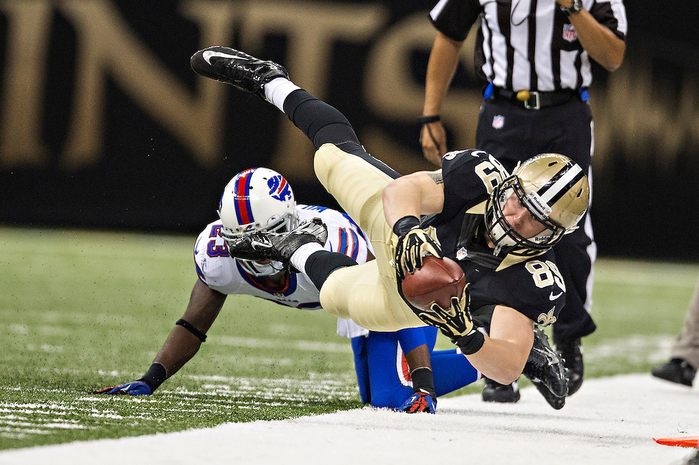 NEW ORLEANS, LA - OCTOBER 27:  Josh Hill #89 of the New Orleans Saints reaches out for a first down after being knocked out of bounds during a game against the Buffalo Bills at Mercedes-Benz Superdome on October 27, 2013 in New Orleans, Louisiana.  The Saints defeated the Bills 35-14.  (Photo by Wesley Hitt/Getty Images) *** Local Caption *** Josh Hill